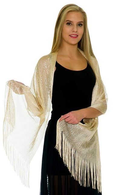 Solid Color Shinning Metallic Shawls And Wraps For Evening Dresses