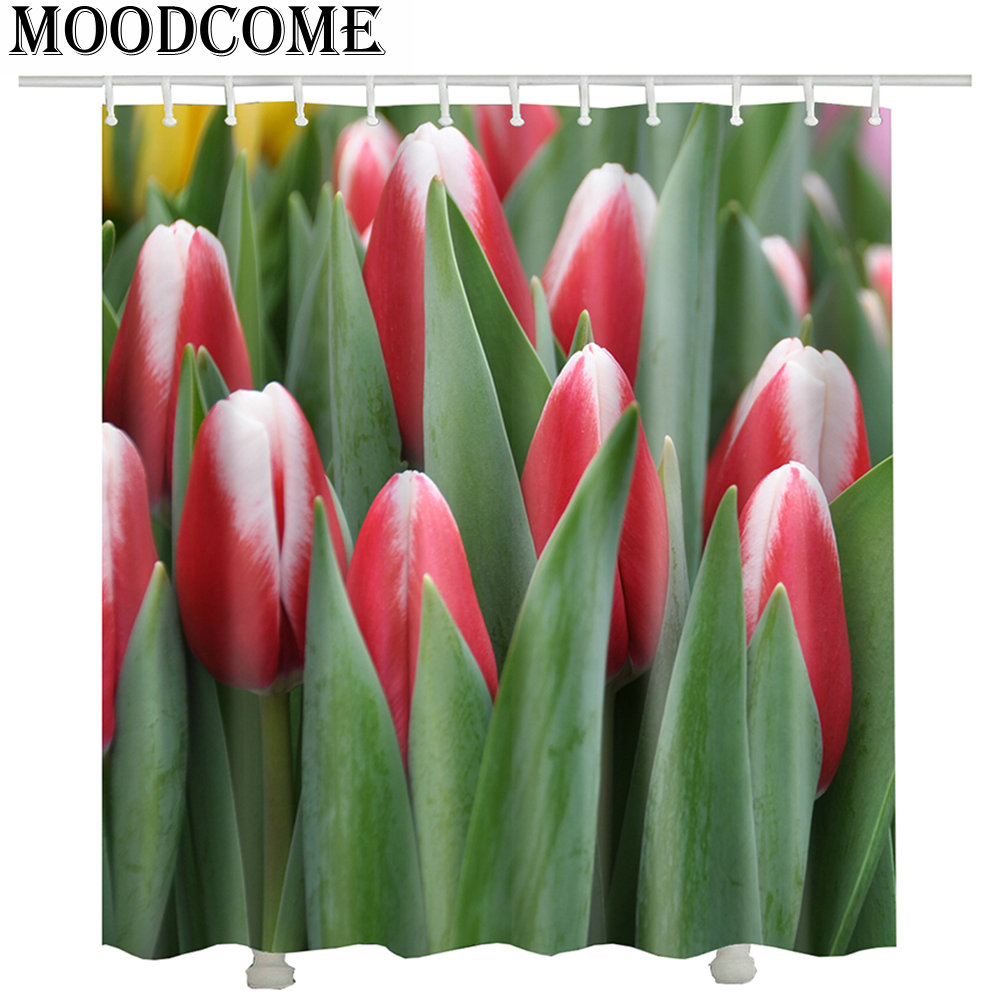 Tulip Shower Curtain Flower Printed 3d Curtains For Bathroom Poliester Waterproof In From Home Garden On