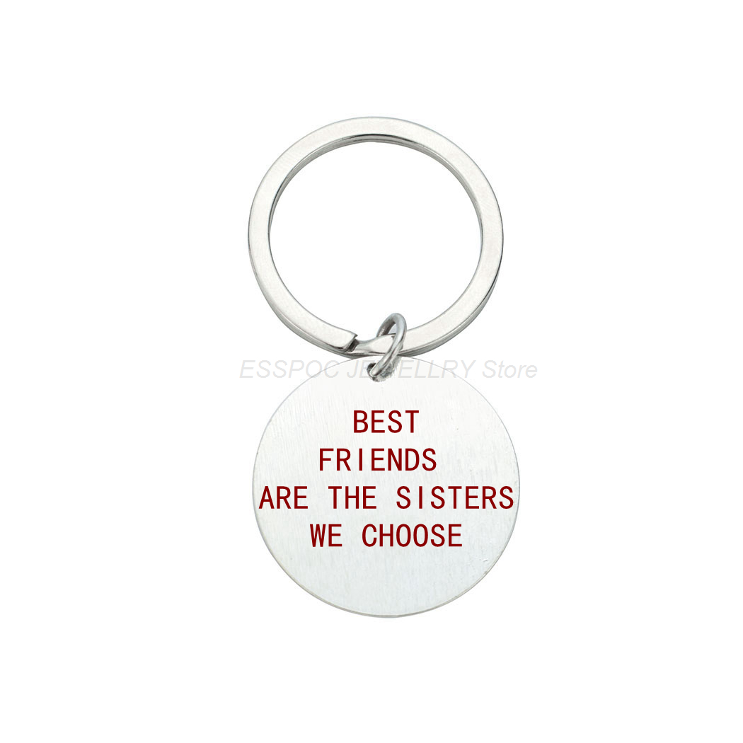 Best Friends Letters Engraved Keychain Sisters Key Chain Silver Jewelry Stainless Steel Lettering Pendant Soul Sister Women Gift in Key Chains from Jewelry Accessories