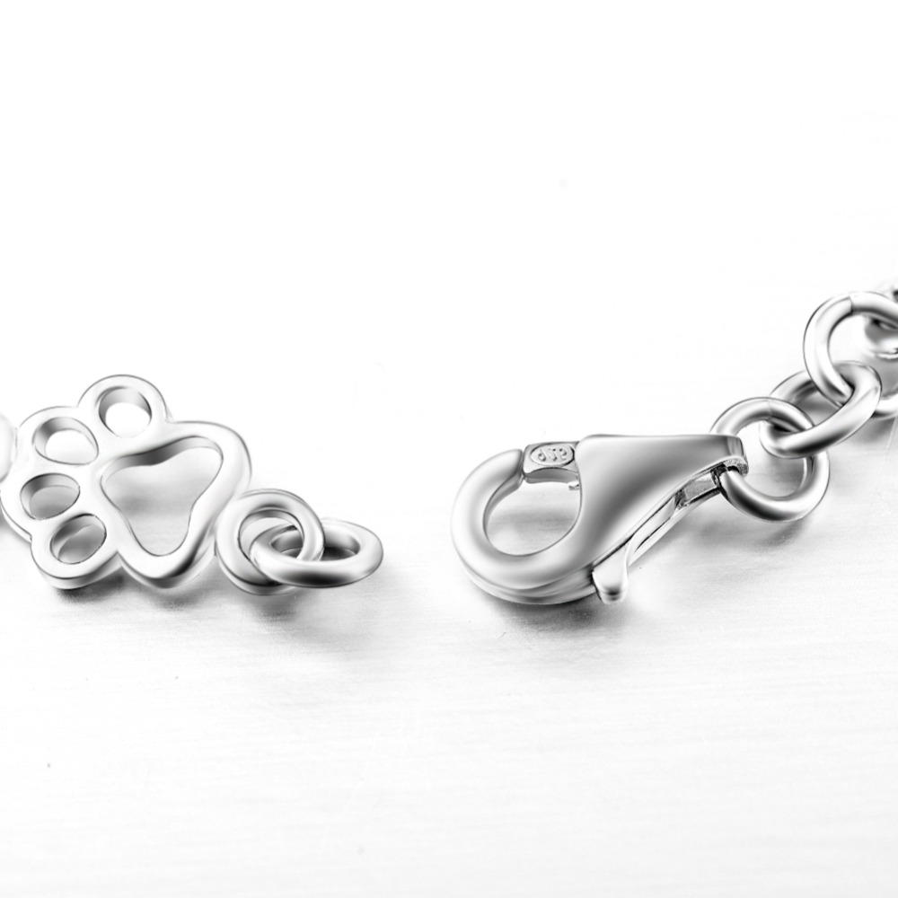Genuine 925 Sterling Silver Fashion Women Bracelets Bangles Dog Paw and Bone Jewelry Chain Bracelet 19CM Length GNS0387 in Chain Link Bracelets from Jewelry Accessories