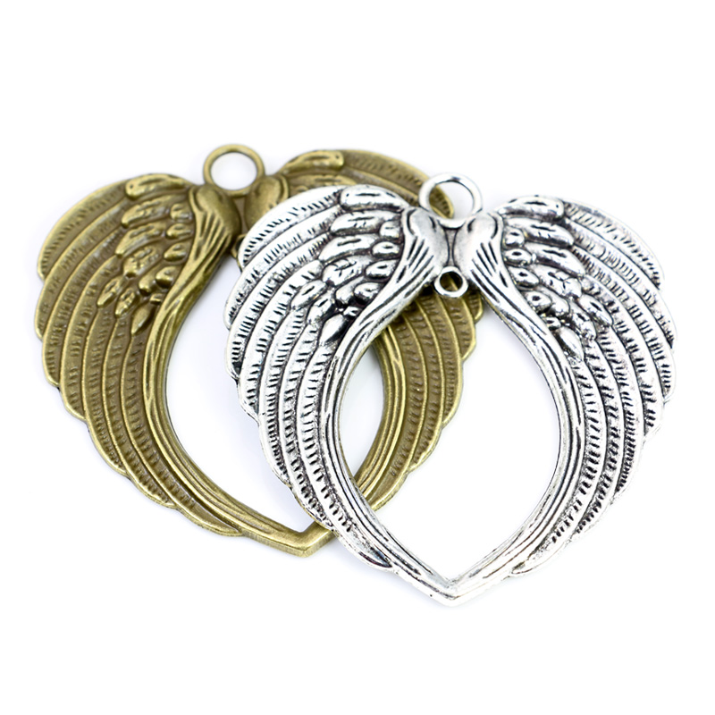 SC6133 6 Angel Wing Heart Charms Antique Silver Tone