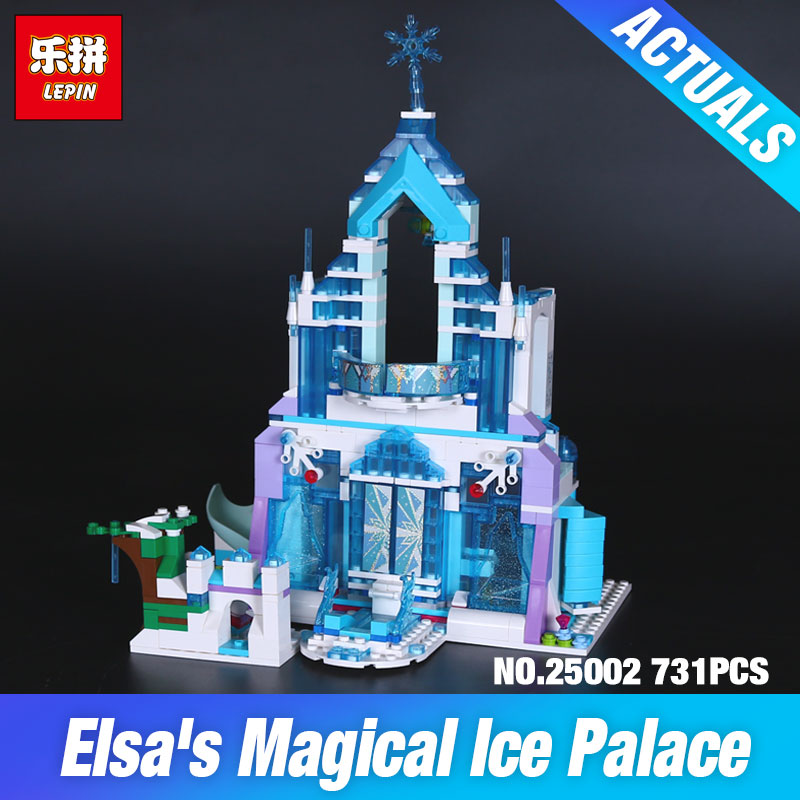 Lepin 25002 Blocks Toys 731Pcs Girl Series The 41148 Magical Ice Castle Set Building Blocks Brick Children Toys Birthday Gifts lepin 25002 731pcs the snow world series the elsa s magical ice castle set building blocks bricks toys girl with gifts 41148