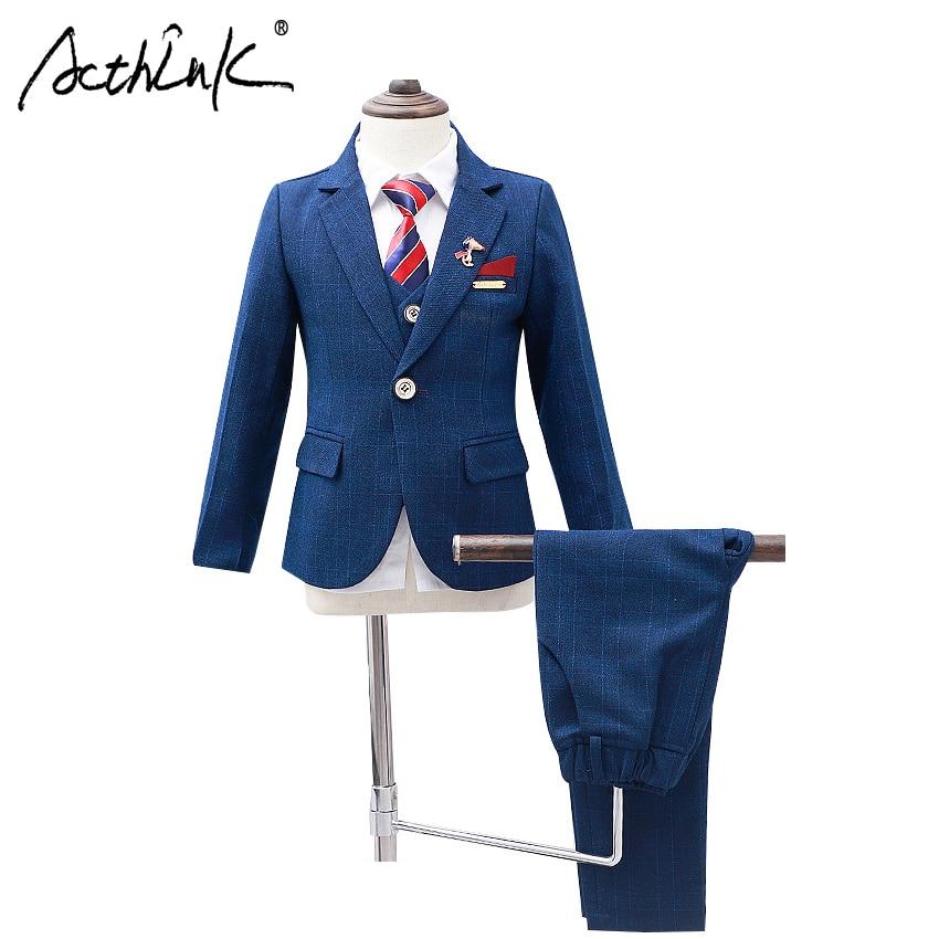 ActhInK New Boys Winter Suit 5Pcs Kids Wedding Blazer Suit Boys Shirts Vest Stylish Clothing Set Baby Boys Wedding Clothes, C343