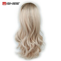 Wignee Lace Front Synthetic Wig For Women Heat Resistant Long Hair Body Wave Wig Natural Hairline Ombre Ash Blonde Wavy Hair Wig