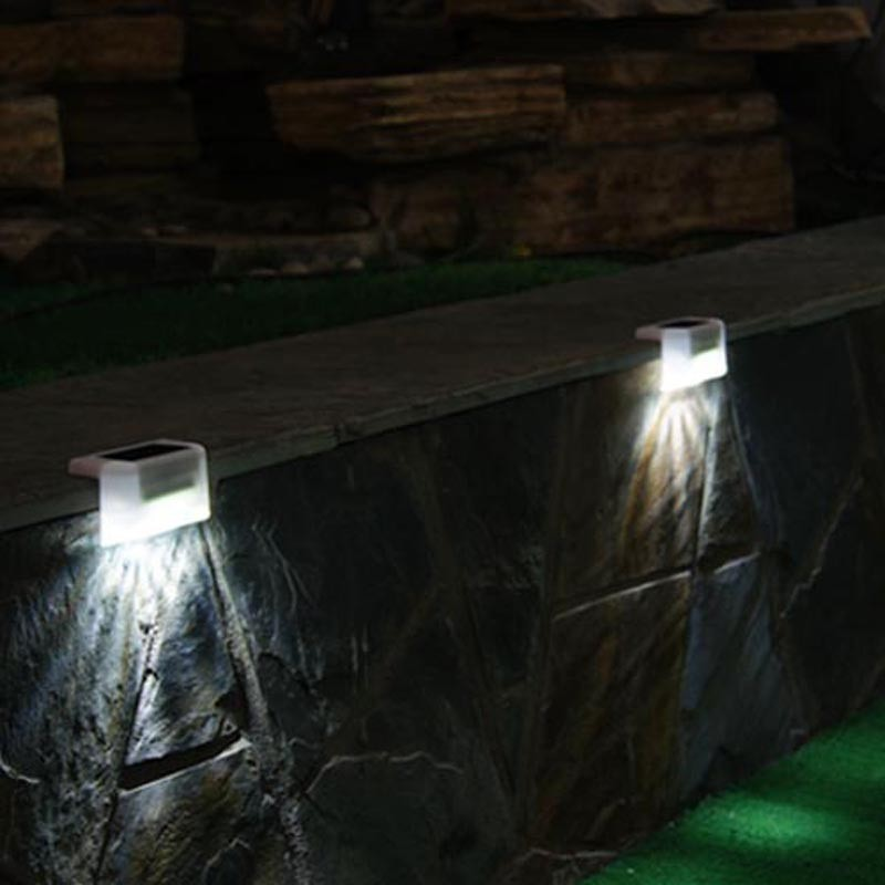 Security LED Solar Panel Fence Stair Step Rail Light Garden Outdoor Waterproof Lamp Energy Saving Lighting Garland Decoration