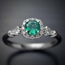 Ring Crystal Wedding Claw Design Green Zircon Kiss Wife  кольZircon Female Jewelry Micropave Oval Wo