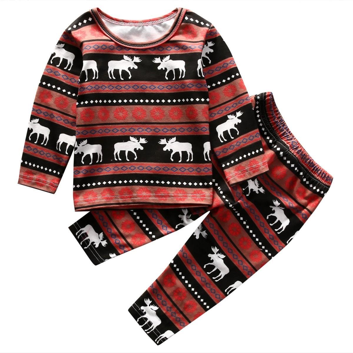 2pcs!!Christmas Kids Girls Boys Reindeer Long Sleeve Homewear Nightwear Sleepwear Pajamas Set 0-3T