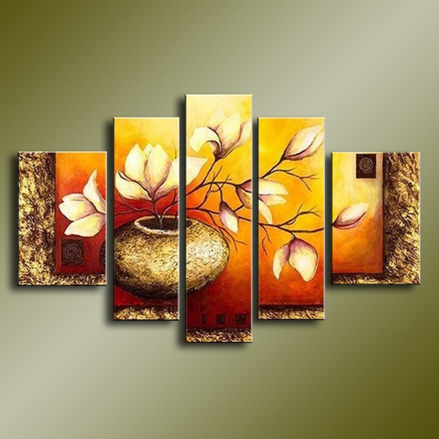 5 Panel Flower Painting Canvas Bedroom Wall Art Poster Hand Painted ...