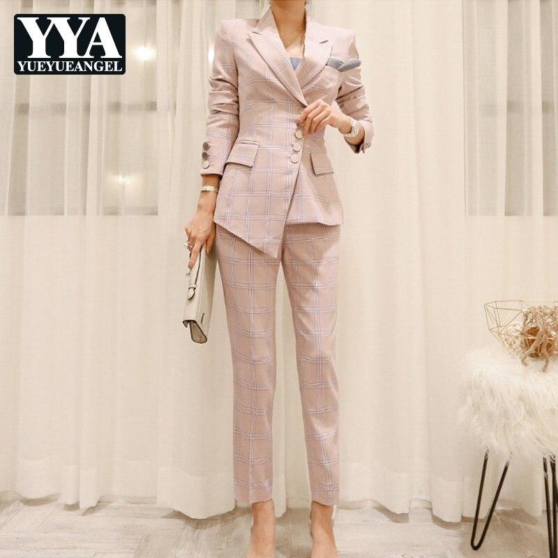Fashion Slim Fit Lady Plaid Suits Set Female Single Breasted Blazer Jacket Pencil Pants 2 Pieces Suits Set Business Casual Sets