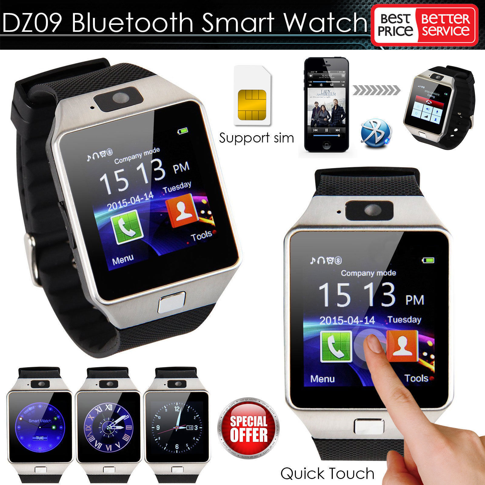 caa08852be New Smart Watch dz09 With Camera Bluetooth WristWatch SIM Card Smartwatch  For Ios Android Phones Support Multi languages-in Smart Watches from  Consumer ...