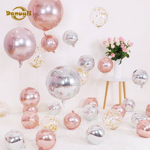 Danuyli 1pc 101822 rose gold 4D round balloon wedding birthday party decoration helium supplies aluminum foil balloons