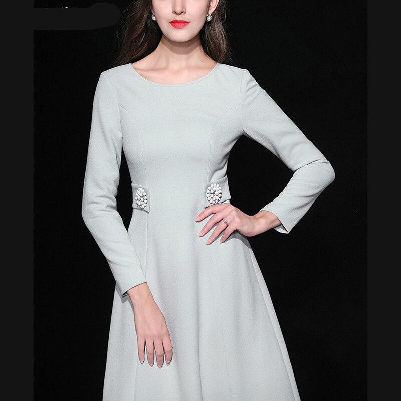 c52e73fcd17 2018 Autumn New Designer Style European And American Slim Waist Long  Sleeved Round Neck Collar Knee length Dress Women s Dresses-in Dresses from  Women s ...