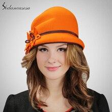 100% Wool From Australian Cloche Fedora Hat Winter Warm Hat Felt Brand Hat Floppy Hat Flower Design FW110005