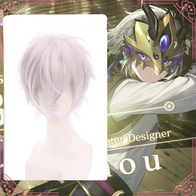 US $5 99 |Free Postage Fate/Grand Order FGO Warrior Lan Ling Cosplay Wig  Silvery Gray Hair Male Wig Short Hairpiece Periwig for Cosplay -in Boys