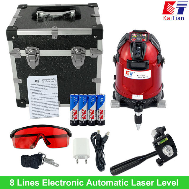 Kaitian Rotary Lasers Level with Battery Tilt Function Outdoor Electronic Automatic 635nM EU 8 Line Vertical & Horizontal Lasers