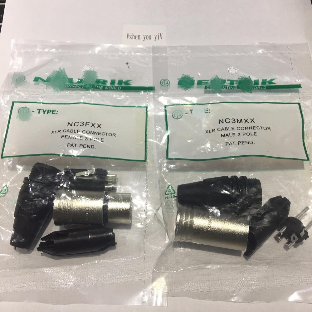 60 pçs/lote original PARA conector NEUTRIK 30PCS NC3MXX & 30PCS NC3FXX Masculino et Un conjunto femelle 3 Broches XLR Connecteur avec!