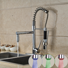 Deck Mounted Modern LED Spring Chrome Kitchen Faucet Dual Spouts Sink Mixer Tap 3 Color Changing