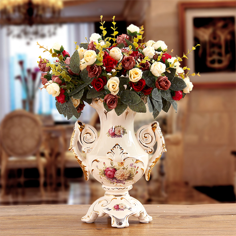 European ceramic vase The living room table furnishing articles retro flower vase porcelain home decoration