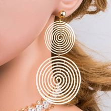 BK Women Spiral Double Round Stud Earrings Gold Metal Statement Fashion For Trendy Classic Present Jewelry Gift
