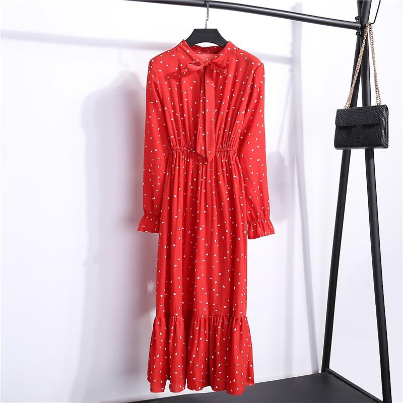 Summer Korean Chiffon Women Dress Elegant Ladies Vintage Long Dress Boho Floral Office Long Sleeve Vestidos Clothing 5LYQ003 52