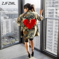 Army Green Camouflage Print Casual Long Coat Women Full Sleeve Turn Down Collar Loose Open Stitch Hip Hop Back Red Heart Jackets