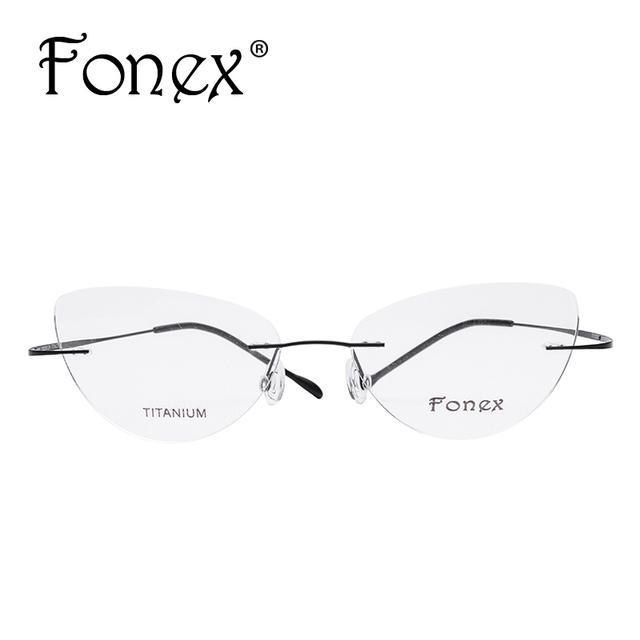 3faf41cb8b4 FONEX No Screw 2017 Cat Eye Rimless Prescription Glasses Frame Women  Titanium Eyeglasses Myopia Optical Frames Eyewear Silhouett - Online  Shopping