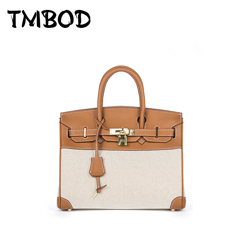 NEW 2018 Casual Classic Patchwork Tote Satchels Lady Lock Bag Canvas & Split Leather Handbags Ladies Crossbody Bags an800
