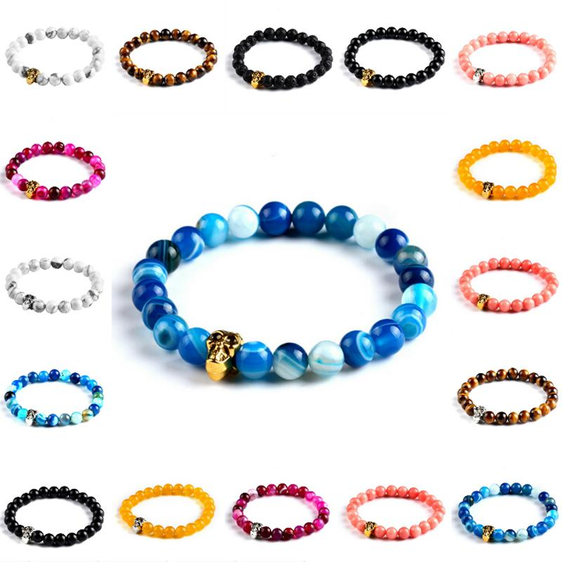 Unisex Newest Fashion Natural Stones Skull Green Stone Candy Color Men And Women Elastic Chain Bracelets