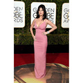 2016 Katy Perry Celebrity Vestidos Sexy V Escote Blush Rosa de Raso Elástico Vestido Formal 73ª Golden Globe Awards Red Carpet