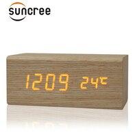 الصوت التحكم usb الصلبة خشبية مكتب السرير المنبه تيمبريتوري الرقمي عرض البرتقال تعزيز سطح ضوء جديد