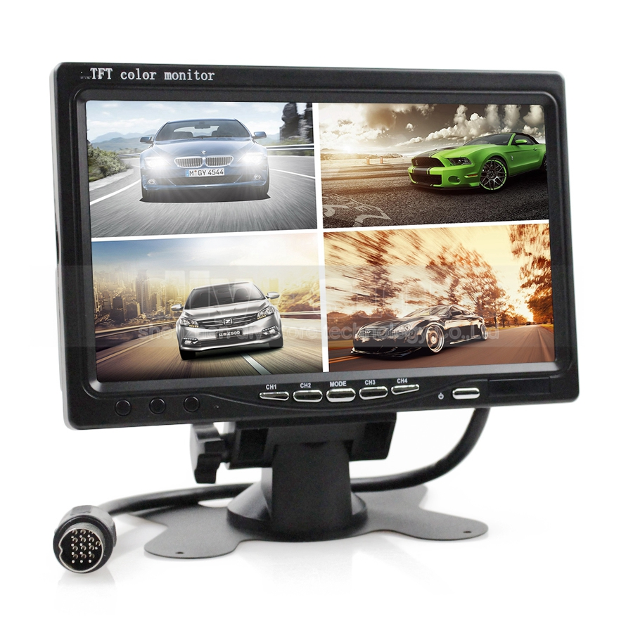 DIYKIT DC12V-24V 7 Inch 4 Split Quad LCD Screen Display Color Rear View Monitor Security Monitoring 8 4 8 inch industrial control lcd monitor vga dvi interface metal shell open frame non touch screen 800 600 4 3