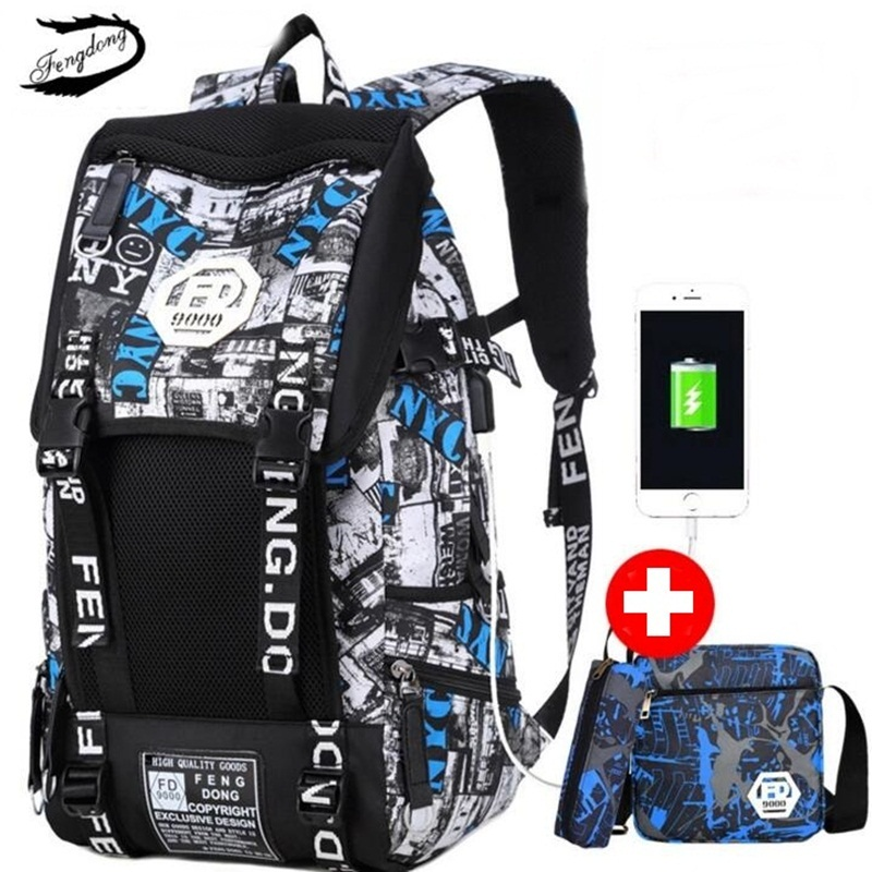 Fengdong Men USB Backpack School Bag For College Students Male Casual Shoulder Bag Chest Bags High Quality Big Travel Backpacks high quality fashion rock band backpack for teenage women men casual daypack college student preppy school backpack travel bags