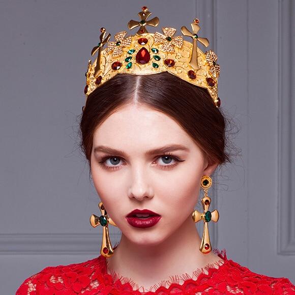 Wedding Vintage Style Hair Accessories: Baroque Style Bridal Jewelry Vintage Imperial Crown