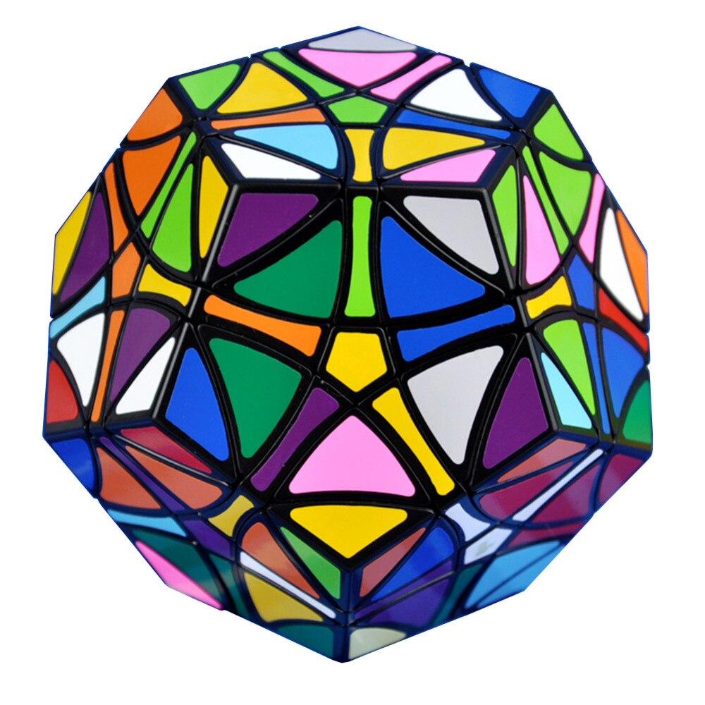 YKLWorld noir hélicoptère Dodecahedron Gigaminx Magic Cube autocollants faciles à poser Puzzle vitesse Cubes jouets éducatifs pour enfants (W0