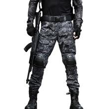 Тактические брюки карго, Мужская Военная коленная подушка, спецназ, армия, страйкбол, камуфляж, охотник, полевая работа, боевые брюки, лес
