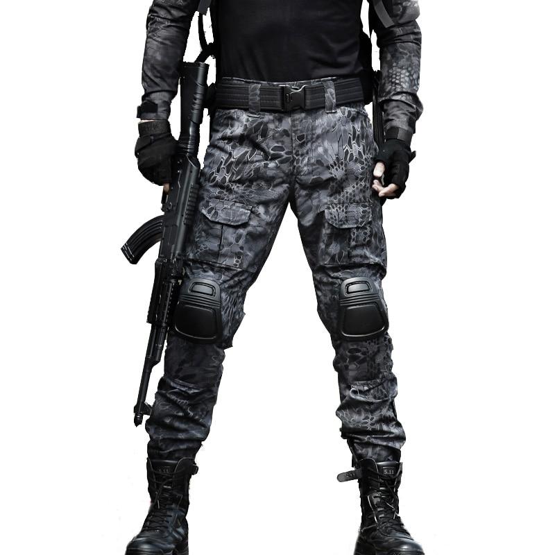 ტაქტიკური შარვალი სამხედრო ტვირთის შარვალი მამაკაცის მუხლზე SWAT Army Airsoft Camouflage ტანსაცმელი Hunter ველის სამუშაო საბრძოლო შარვალი Woodland