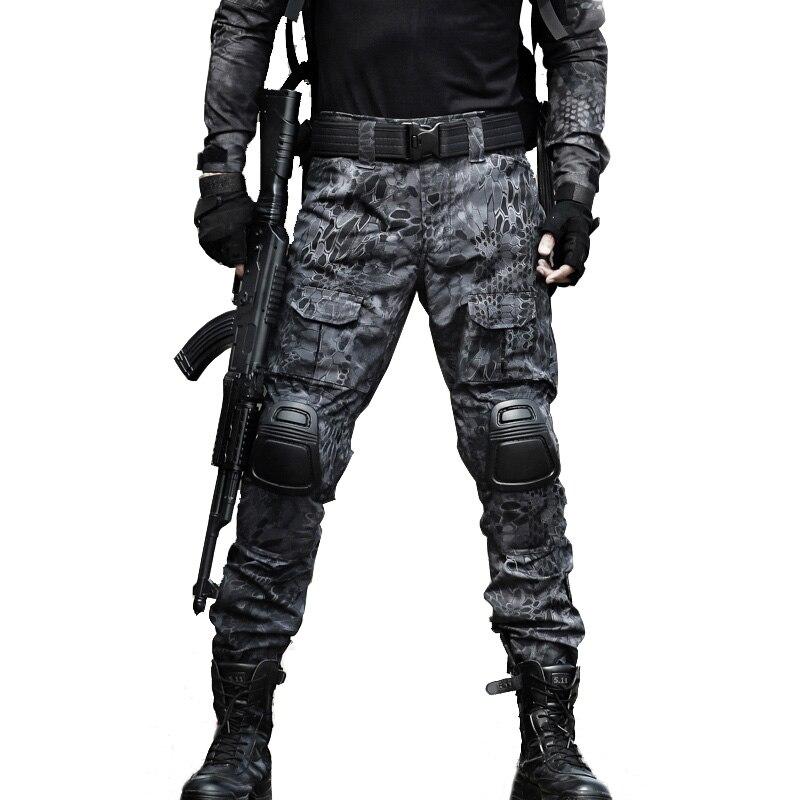 Tactique Pantalon Militaire Pantalon Cargo Hommes Genou Pad SWAT Armée Airsoft Camouflage Vêtements Chasseur Domaine Travail Combat Pantalon Woodland