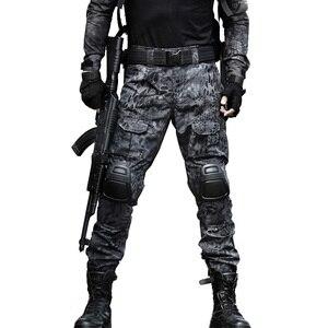 Image 1 - Taktische Hosen Cargo Hosen Männer Militär Knie Pad SWAT Armee Airsoft Camouflage Kleidung Hunter Bereich Arbeit Kampf Hosen Woodland