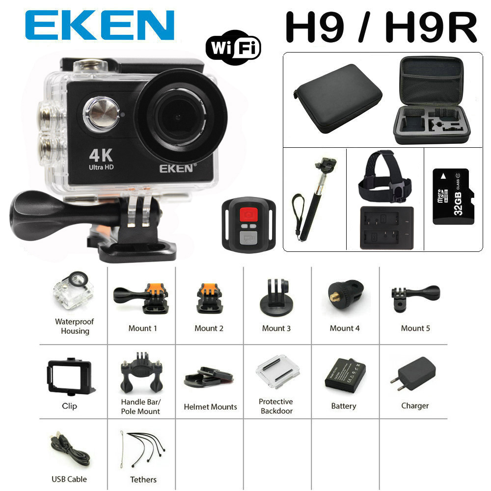 Новое поступление Комплект действие Камера 100% Оригинал Экен H9/h9r Ultra HD 4 К 30 М Sport 2.0 'Экран 1080 P FHD Go Водонепроницаемый Pro Камера