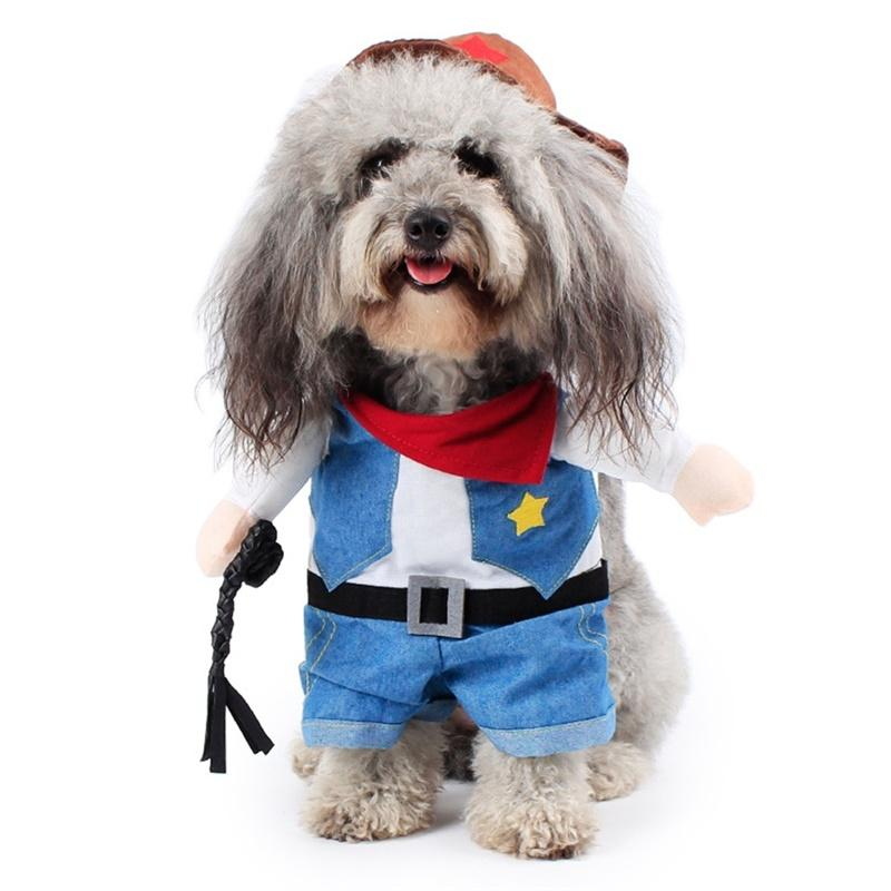 AsyPets Pet Costume Wear Dog Funny Dress up Standing Suit Amuse Walking Dog Cat Cowboy with Arms -30