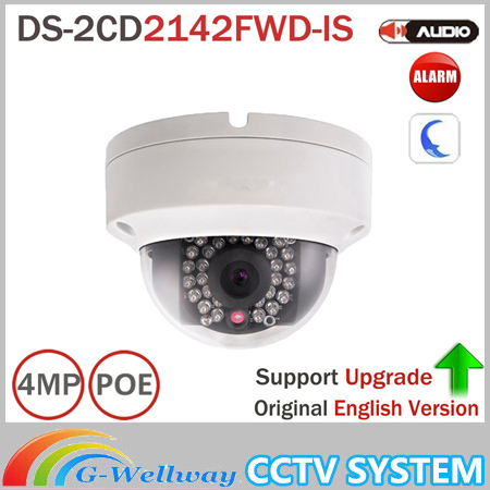 Hik DS-2CD2142FWD-IS 4MP POE IP Camera Day/night Infrared 3D DNR 3-axis adjustment IP67 IK10 Protection Dome Camera hik security camera ds 2cd2142fwd is 4mp poe ip camera day night cctv ip camera with audio and alarms interface 8pcs lot