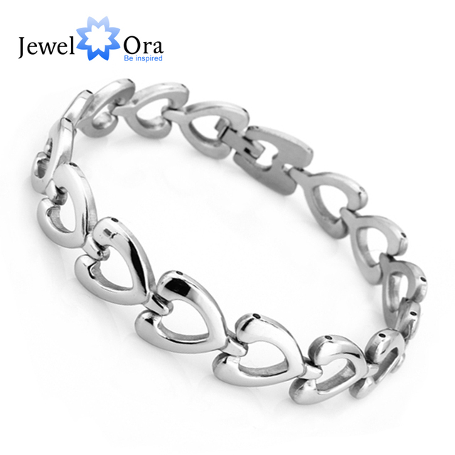 Fashion Stainless Steel Statement Heart Bracelets & Bangles Goods Love's Bracelet Christmas Gift For Her(JewelOra BA100419)