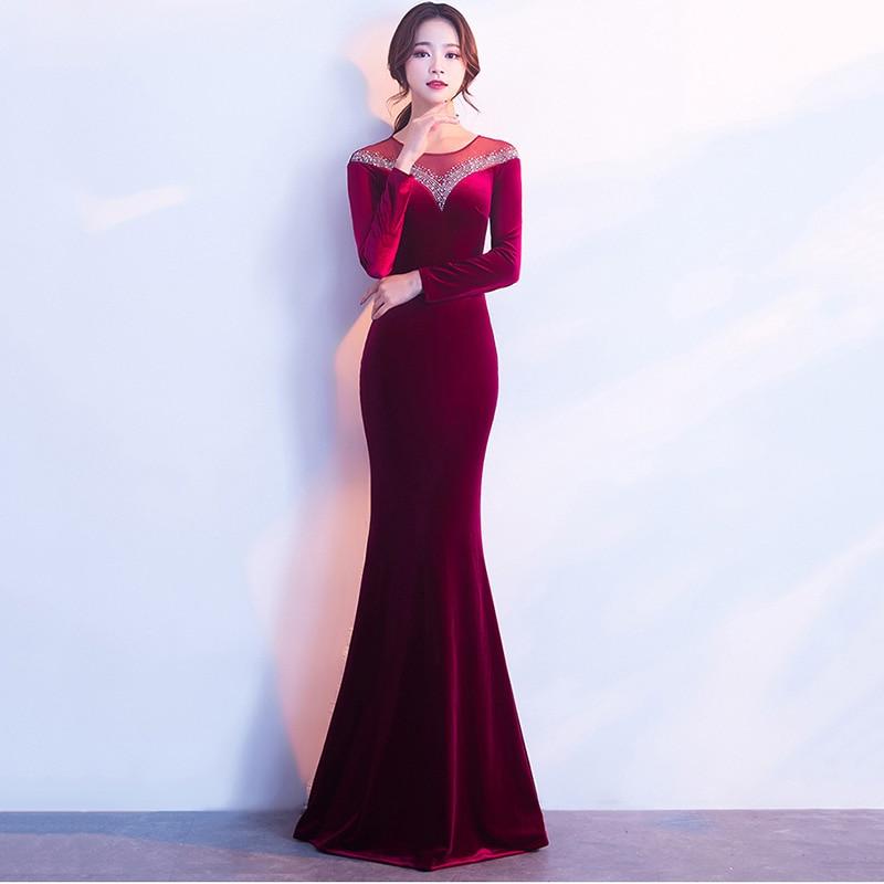 Ongekend Corzzet Wine Red Velvet Full Sleeve Sexy Slim Long Mermaid Floor VX-85