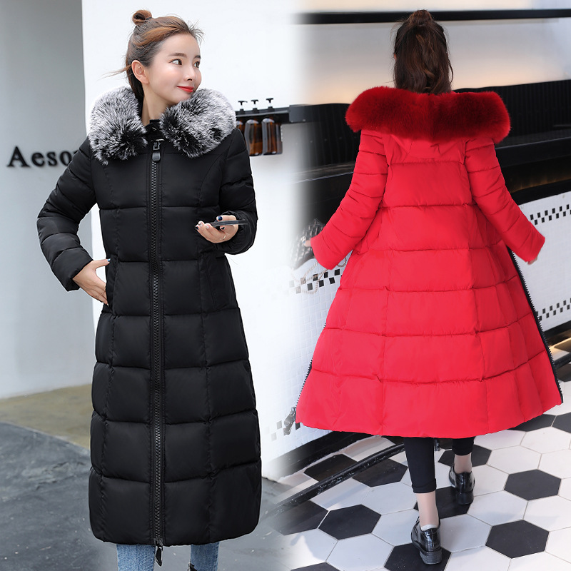 Simple and extraordinary OL commuter Women's Winter   Coat   2018 long slim large fur collar thickening Winter women's   down   jacket