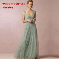 Bridesmaid Dress 2017 Mint Green Cheap Long Chiffon Sweetheart Tulle Gowns Plus Size Wedding Handmade Party
