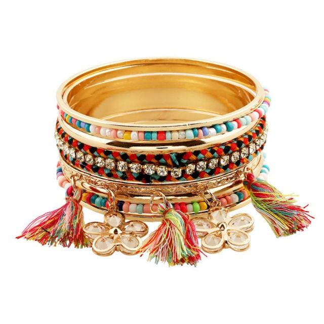 Bohemian Style Bracelets Bangles Kit Crystal Pendant Tel Charm Friendship Bracelet For Women Fashion Jewelry
