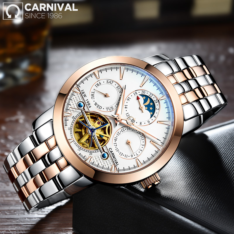 CARNIVAL High Quality Tourbillon Automatiska Mekaniska Mänsklocka Top Märke Luxury Dive 30M Business Full Steel Skeleton Watch