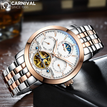 CARNIVAL High Quality Tourbillon Automatic Mechanical Men Watch Top Brand Luxury Dive 30M Business Full Steel Skeleton Watch