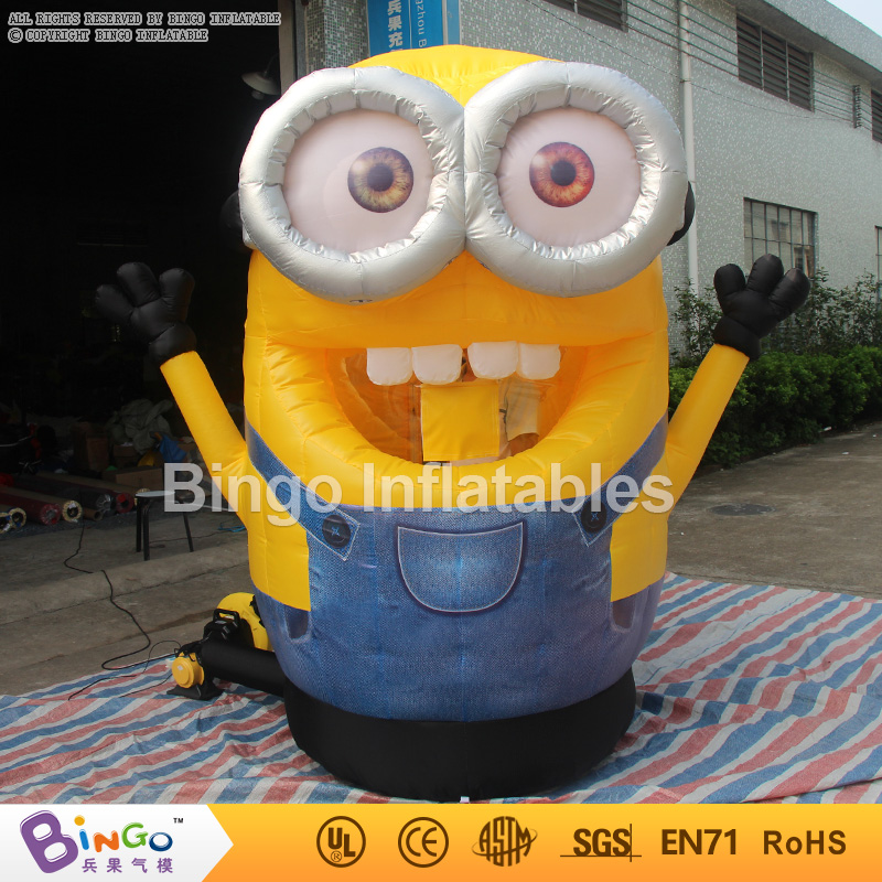 Free Shipping Money Grabber Game 2.5M tall inflatable movie cartoon minions with 2 blowers for toy tents