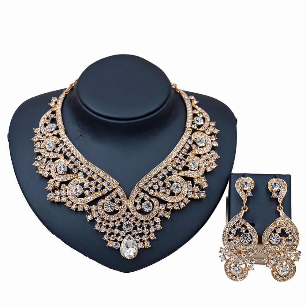 White Rhinestones Crystal Jewelry Sets Women Necklace Earrings Gold Color  Dubai Set For Women Wedding Party Bridal Prom Holiday
